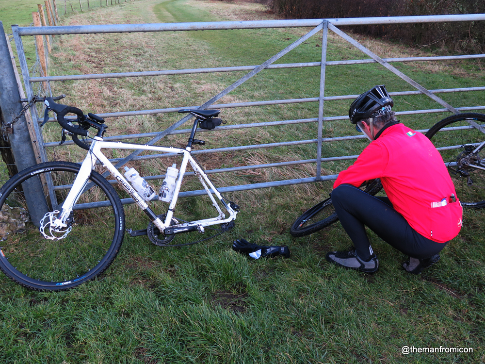 Me fixing the first puncture of the day - the only one for me luckily
