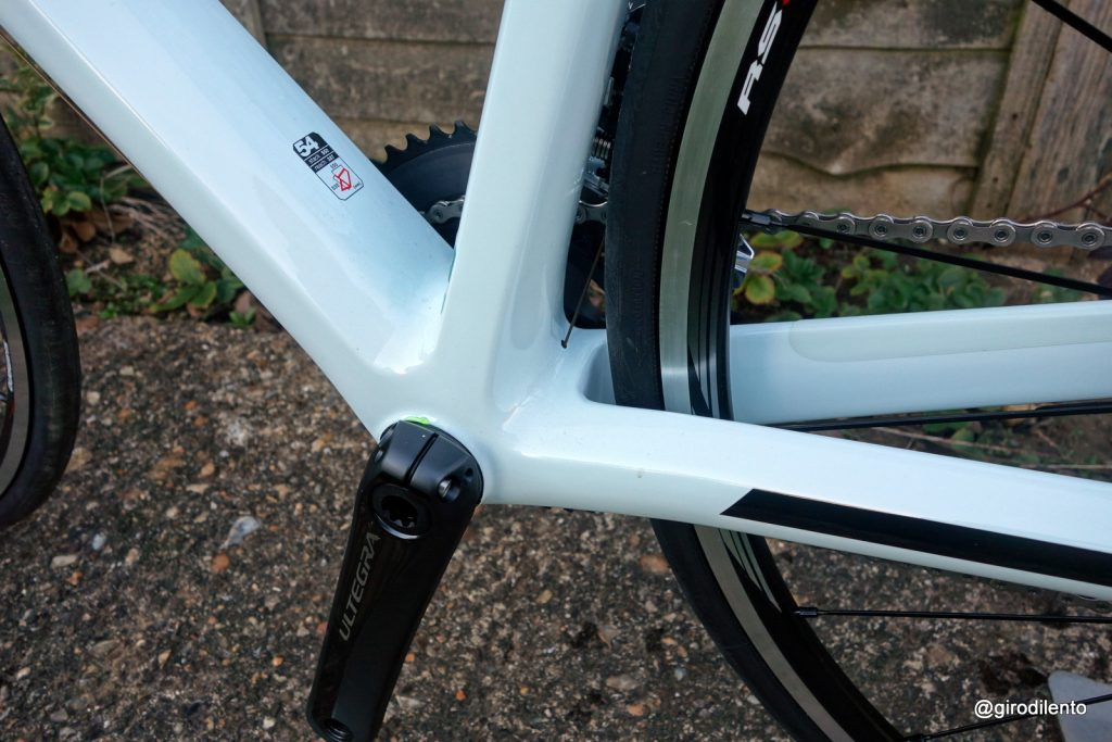 Huge downtube merges into equally chunky bottom bracket area